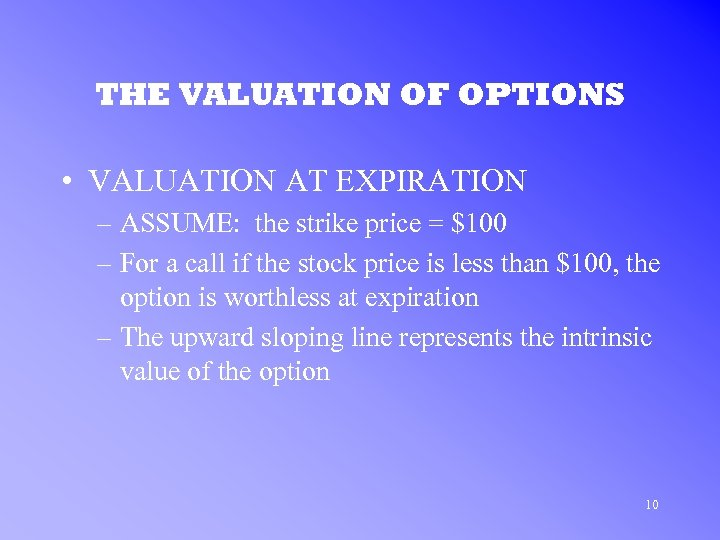 THE VALUATION OF OPTIONS • VALUATION AT EXPIRATION – ASSUME: the strike price =