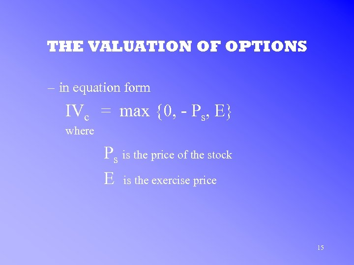 THE VALUATION OF OPTIONS – in equation form IVc = max {0, - Ps,