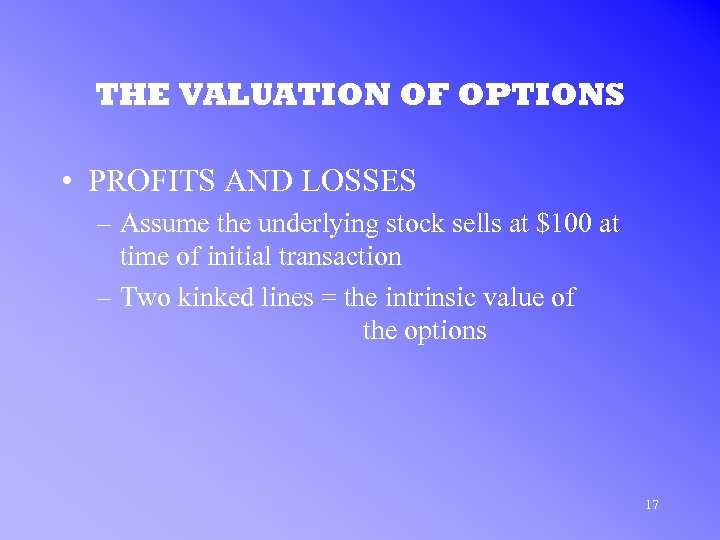 THE VALUATION OF OPTIONS • PROFITS AND LOSSES – Assume the underlying stock sells