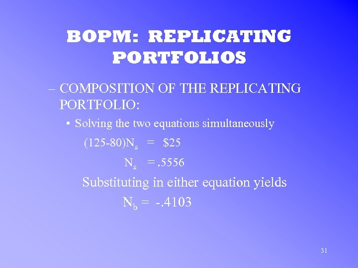 BOPM: REPLICATING PORTFOLIOS – COMPOSITION OF THE REPLICATING PORTFOLIO: • Solving the two equations