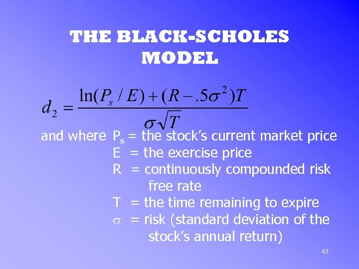 THE BLACK-SCHOLES MODEL and where Ps = the stock's current market price E =