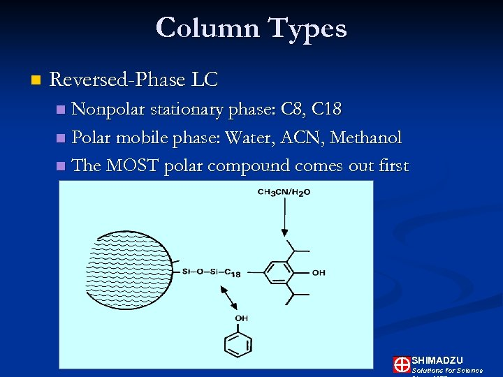 Column Types n Reversed-Phase LC Nonpolar stationary phase: C 8, C 18 n Polar