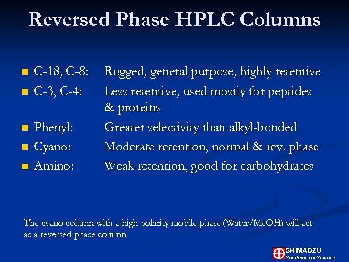 Reversed Phase HPLC Columns n n n C-18, C-8: C-3, C-4: Phenyl: Cyano: Amino: