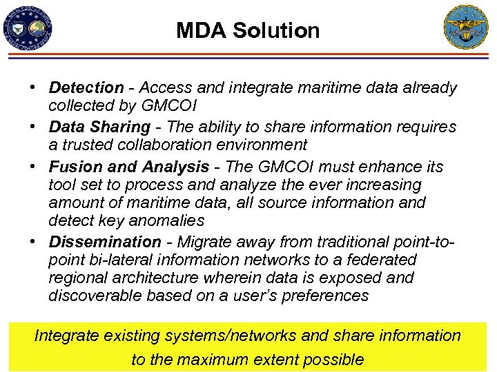 MDA Solution • Detection - Access and integrate maritime data already collected by GMCOI