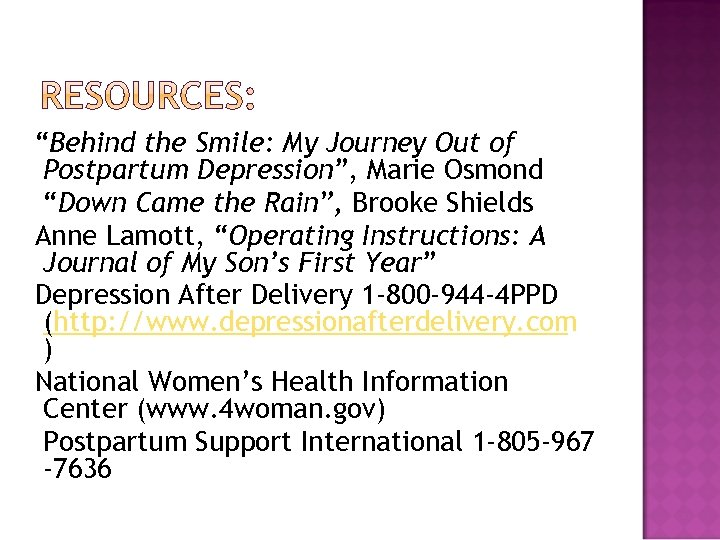 """""""Behind the Smile: My Journey Out of Postpartum Depression"""", Marie Osmond """"Down Came the"""