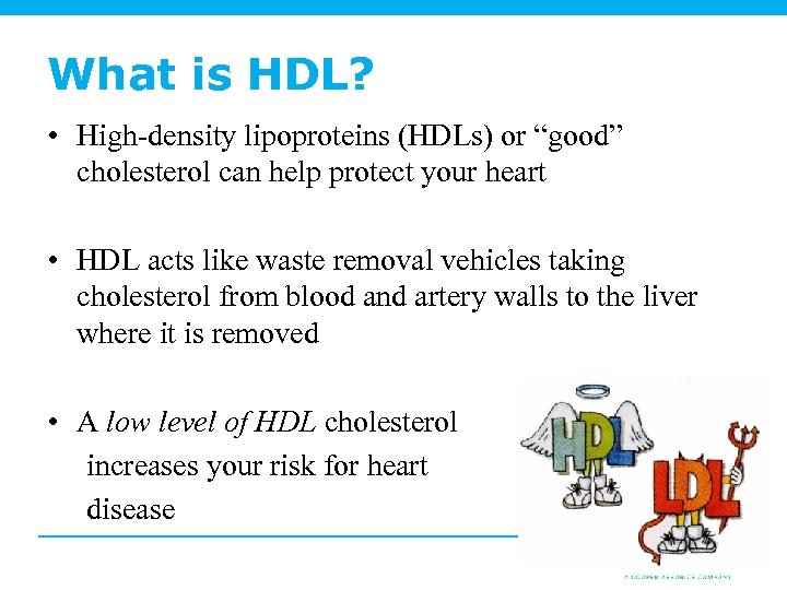 "What is HDL? • High-density lipoproteins (HDLs) or ""good"" cholesterol can help protect your"
