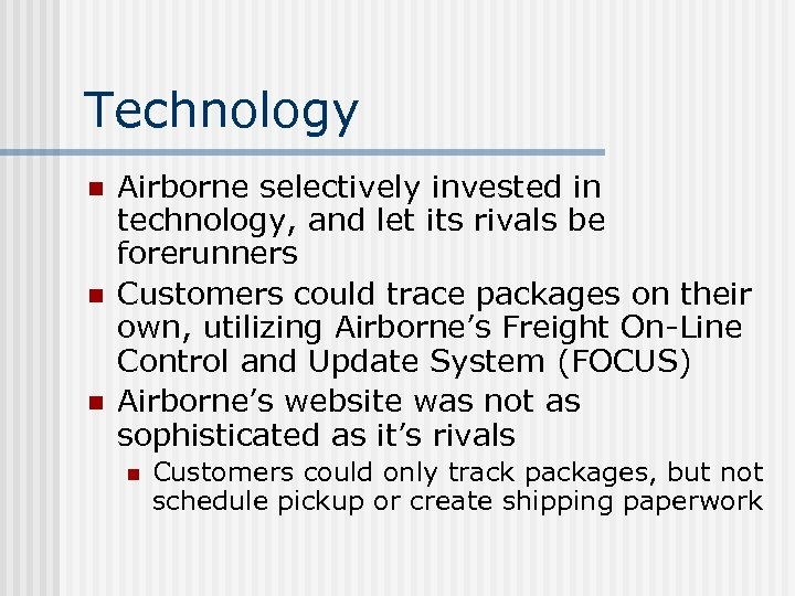 airborne express cost structure Haul transport section use the following four steps to estimate airborne's cost per unit for the flight-and trucking-related line: i separate out flight and trucking expenses for fedex namely, use cost-driver information in the case to estimate the cost of a flown package for fedex (zf), and the cost of a trucked package (zt) ii.