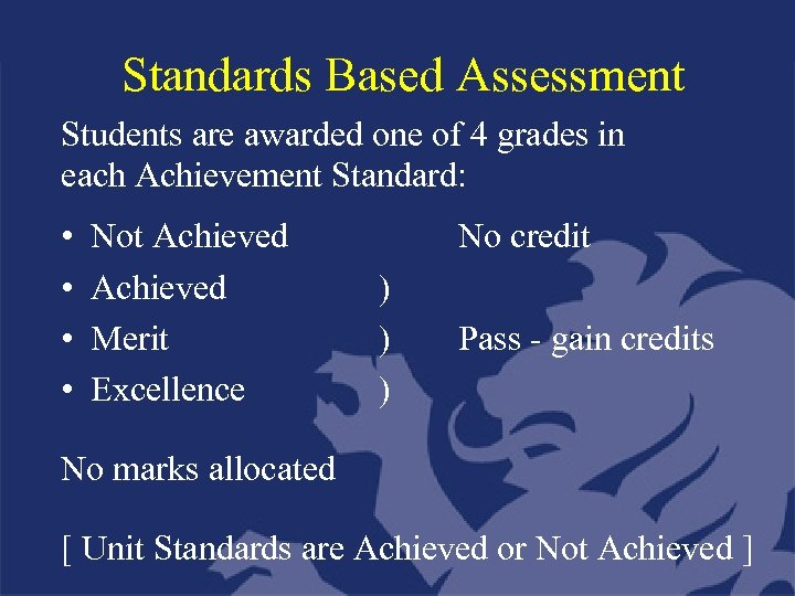 Standards Based Assessment Students are awarded one of 4 grades in each Achievement Standard: