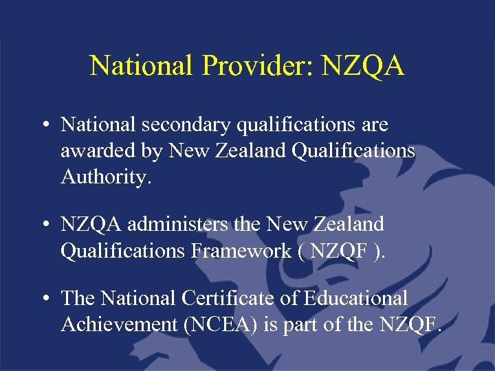 National Provider: NZQA • National secondary qualifications are awarded by New Zealand Qualifications Authority.