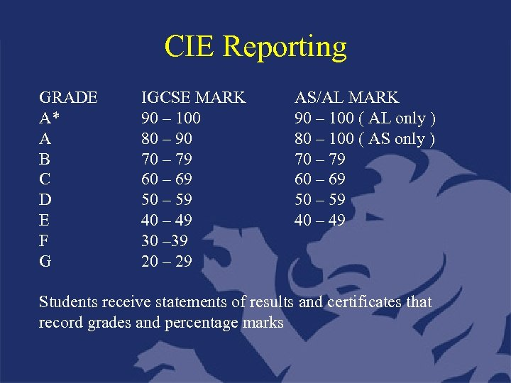 CIE Reporting GRADE A* A B C D E F G IGCSE MARK 90