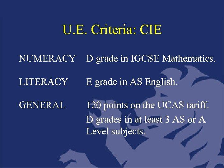 U. E. Criteria: CIE NUMERACY D grade in IGCSE Mathematics. LITERACY E grade in