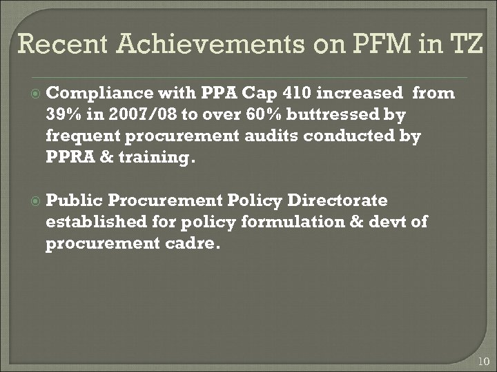 Recent Achievements on PFM in TZ Compliance with PPA Cap 410 increased from 39%