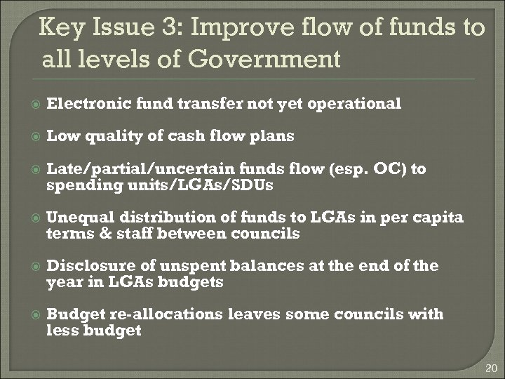 Key Issue 3: Improve flow of funds to all levels of Government Electronic fund