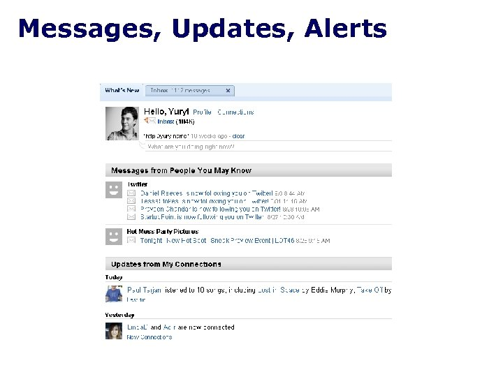 Messages, Updates, Alerts
