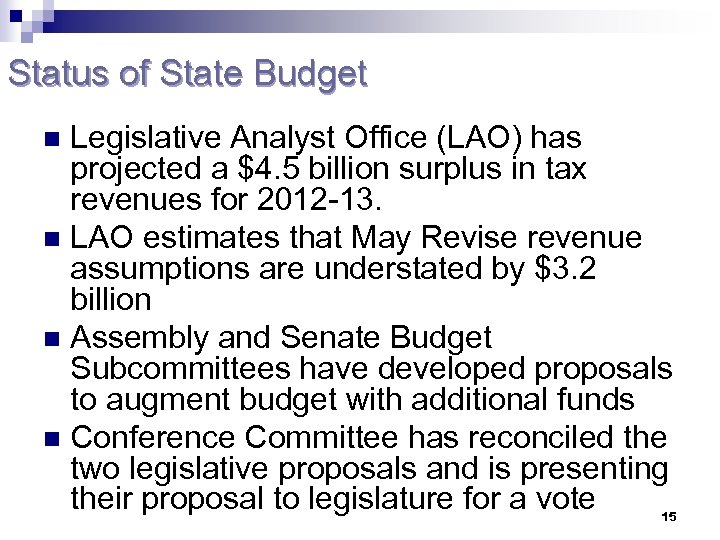 Status of State Budget Legislative Analyst Office (LAO) has projected a $4. 5 billion