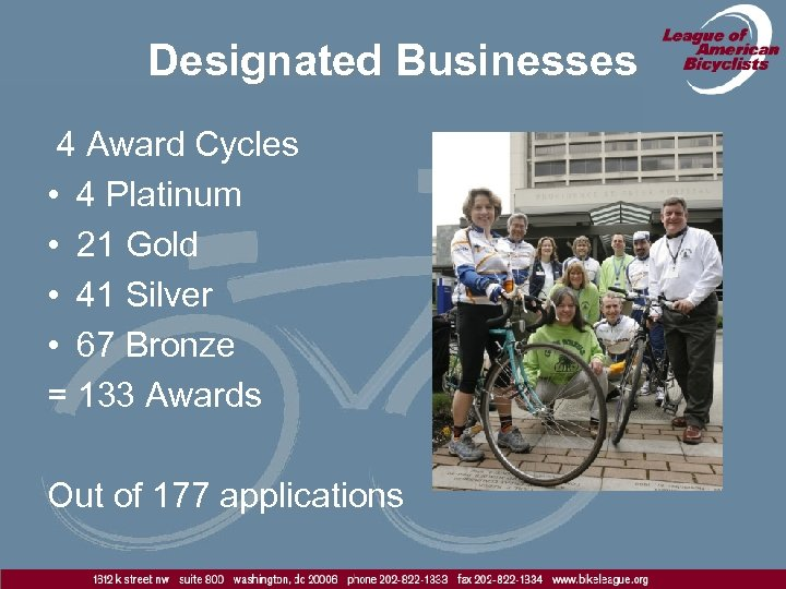 Designated Businesses 4 Award Cycles • 4 Platinum • 21 Gold • 41 Silver