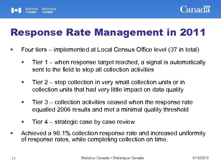 Response Rate Management in 2011 § Four tiers – implemented at Local Census Office