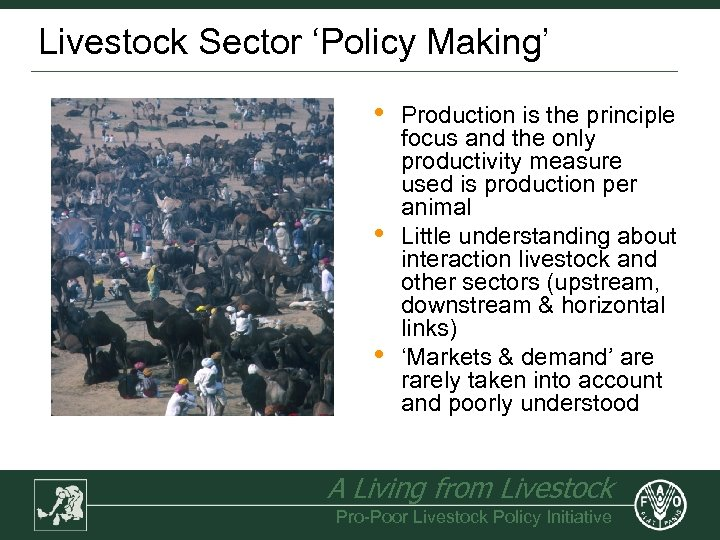 Livestock Sector 'Policy Making' • • • Production is the principle focus and the