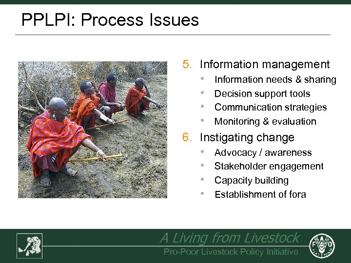 PPLPI: Process Issues 5. Information management • Information needs & sharing • Decision support