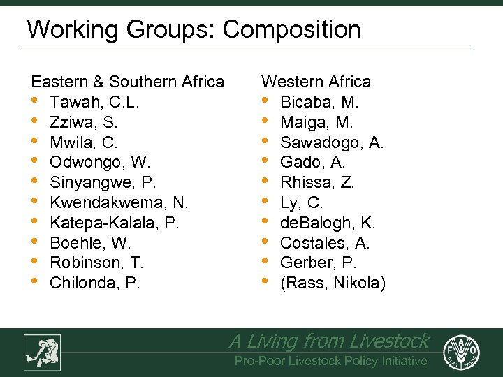 Working Groups: Composition Eastern & Southern Africa • Tawah, C. L. • Zziwa, S.