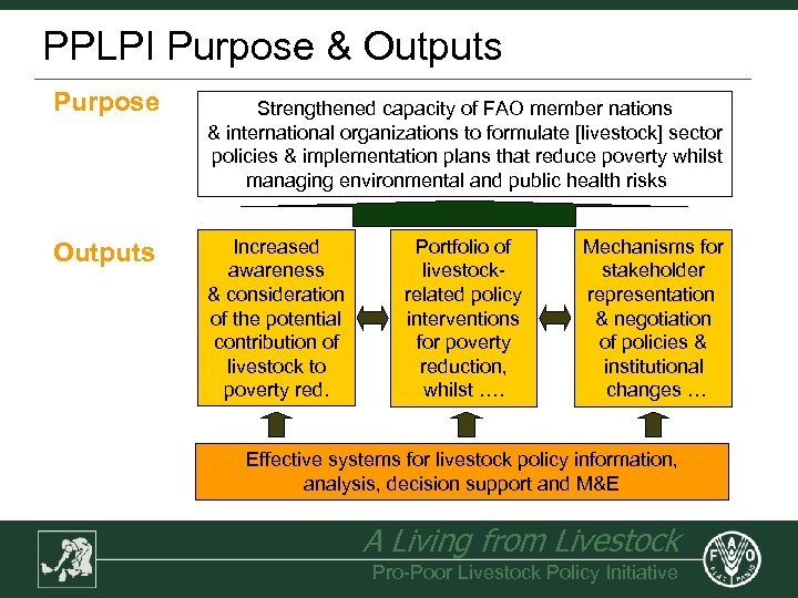 PPLPI Purpose & Outputs Purpose Outputs Strengthened capacity of FAO member nations & international