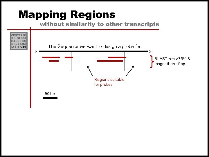 Mapping Regions without similarity to other transcripts The Sequence we want to design a