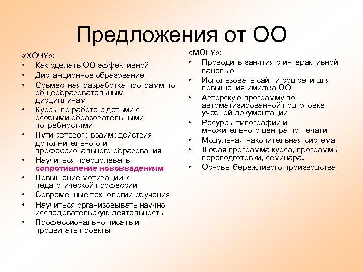 Предложения от ОО «ХОЧУ» : • Как сделать ОО эффективной • Дистанционное образование •