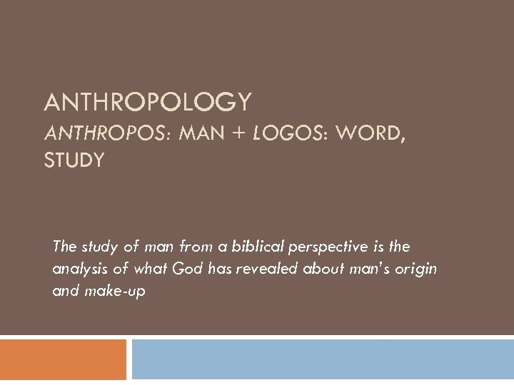 ANTHROPOLOGY ANTHROPOS: MAN + LOGOS: WORD, STUDY The study of man from a biblical