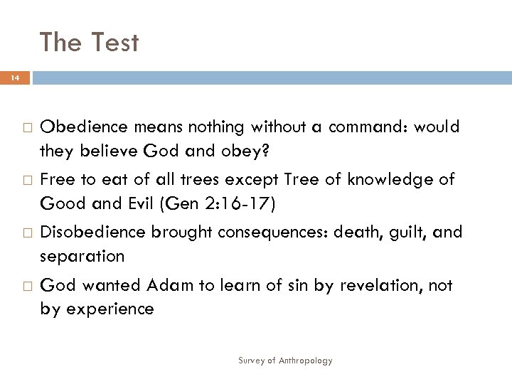 The Test 14 Obedience means nothing without a command: would they believe God and
