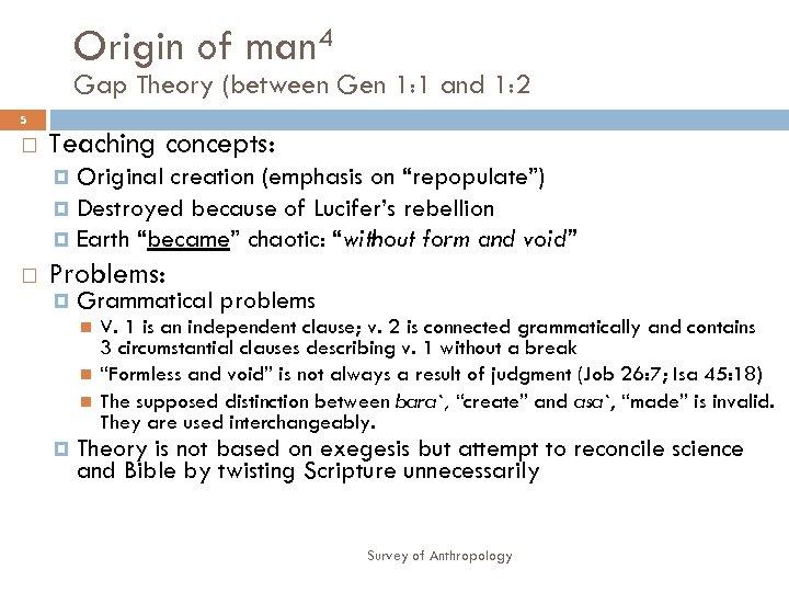 Origin of man 4 Gap Theory (between Gen 1: 1 and 1: 2 5