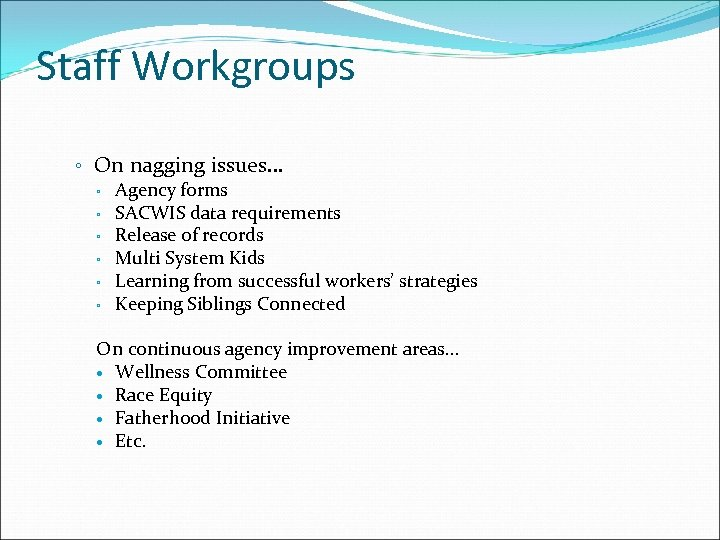 Staff Workgroups ◦ On nagging issues… ◦ Agency forms ◦ SACWIS data requirements ◦