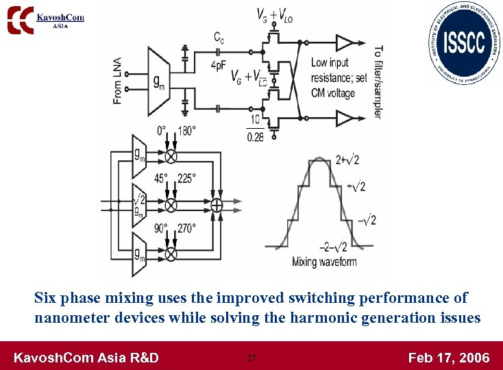 Six phase mixing uses the improved switching performance of nanometer devices while solving the