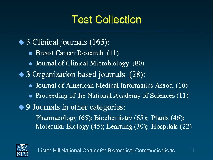 Test Collection u 5 Clinical journals (165): l l Breast Cancer Research (11) Journal