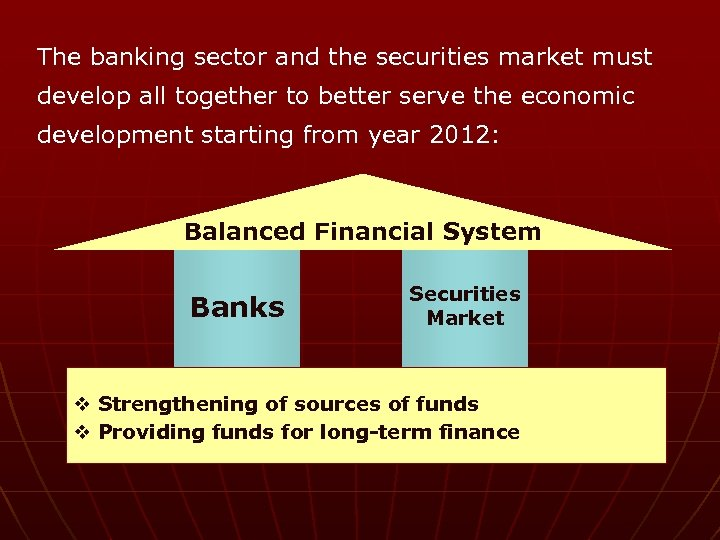 The banking sector and the securities market must develop all together to better serve