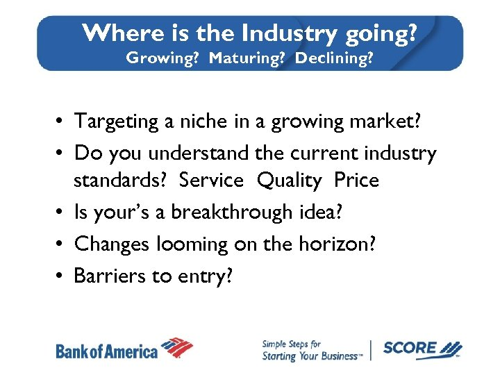 Where is the Industry going? Growing? Maturing? Declining? • Targeting a niche in a