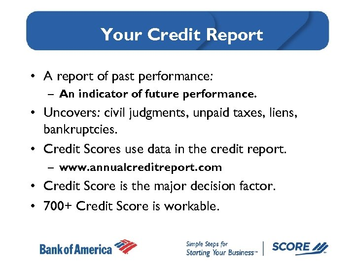 Your Credit Report • A report of past performance: – An indicator of future