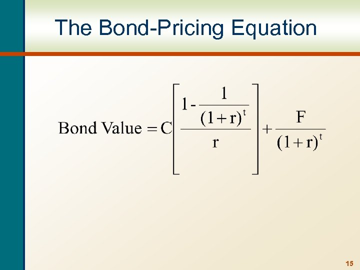 The Bond-Pricing Equation 15
