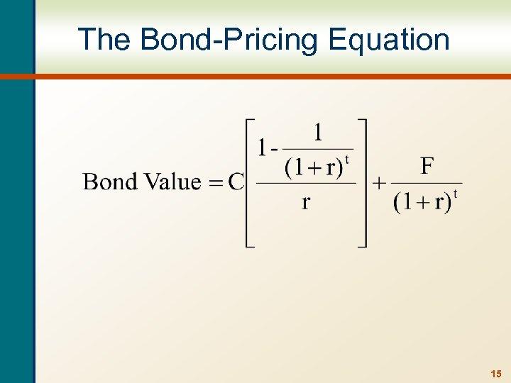 The Bond-Pricing Equation 15