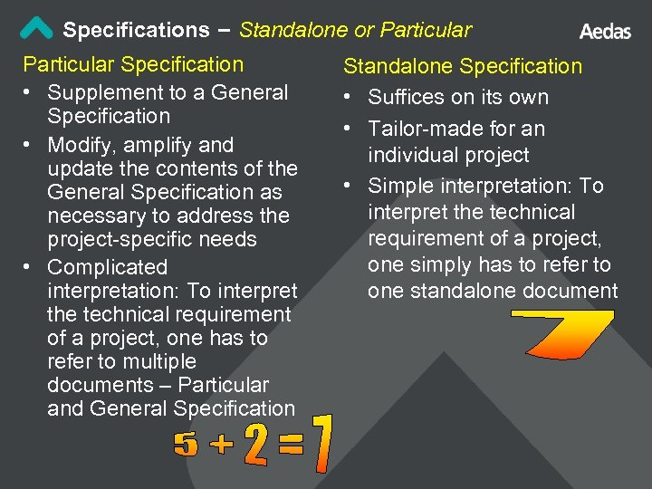 Specifications – Standalone or Particular Specification • Supplement to a General Specification • Modify,