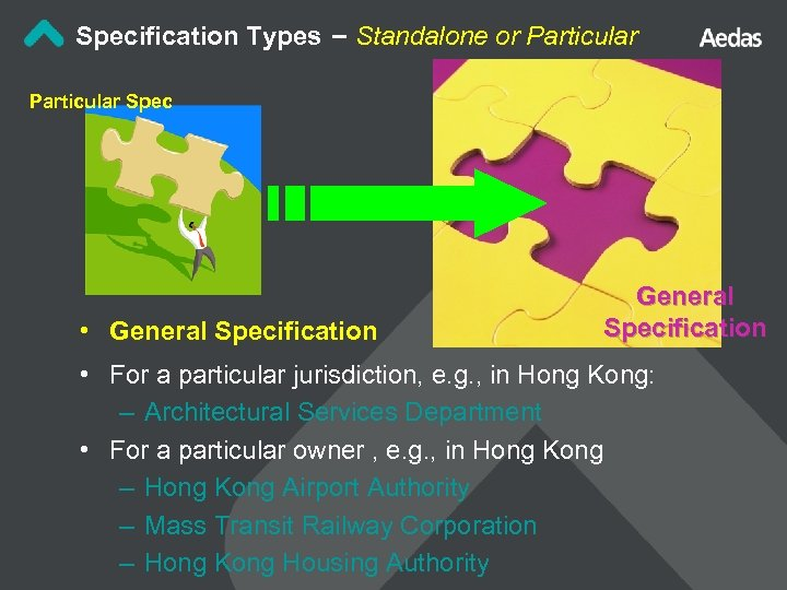 Specification Types – Standalone or Particular Spec • General Specification • For a particular