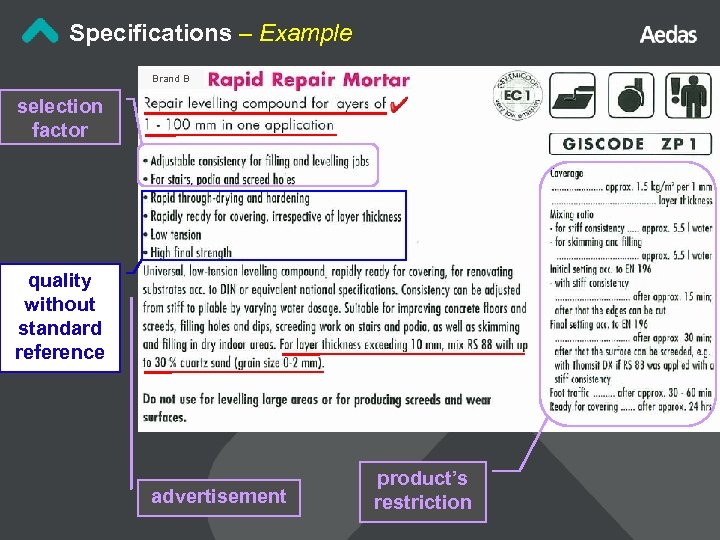 Specifications – Example Brand B selection factor quality without standard reference advertisement product's restriction