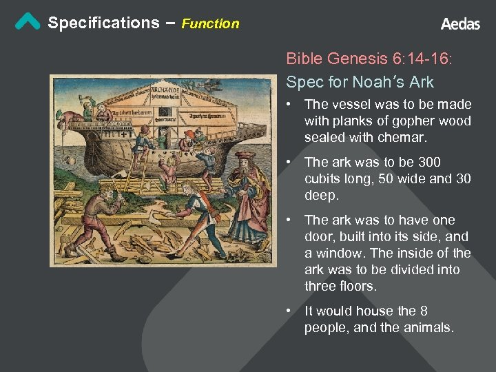 Specifications – Function Bible Genesis 6: 14 -16: Spec for Noah's Ark • The