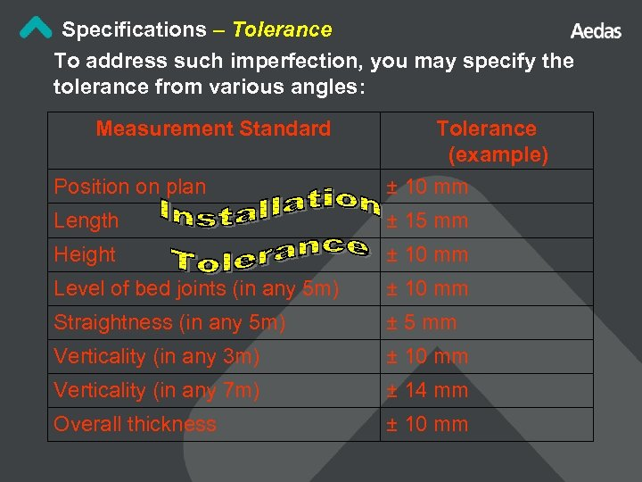 Specifications – Tolerance To address such imperfection, you may specify the tolerance from various