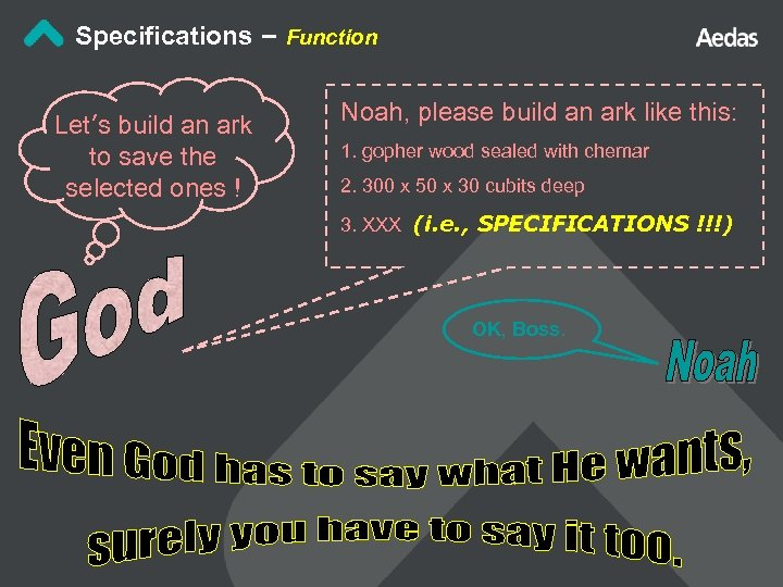 Specifications – Function Let's build an ark to save the selected ones ! Noah,