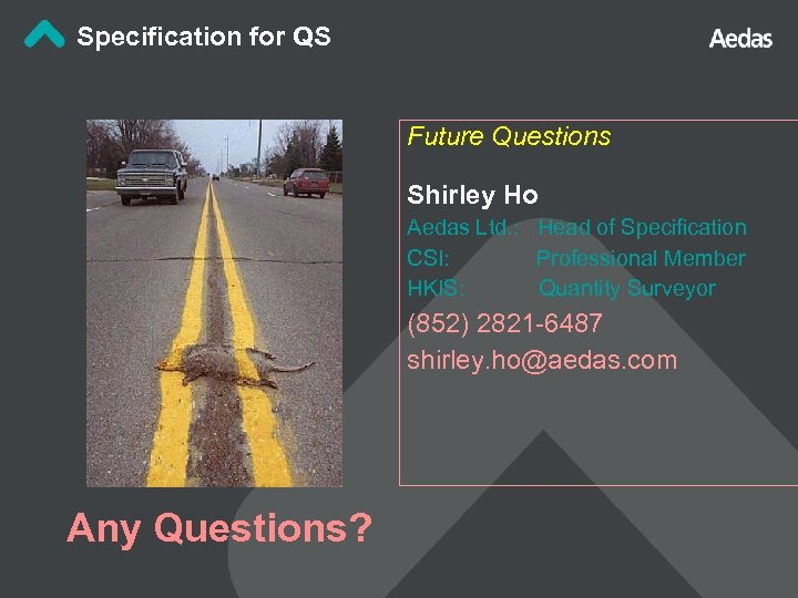 Specification for QS Future Questions Shirley Ho Aedas Ltd. : Head of Specification CSI: