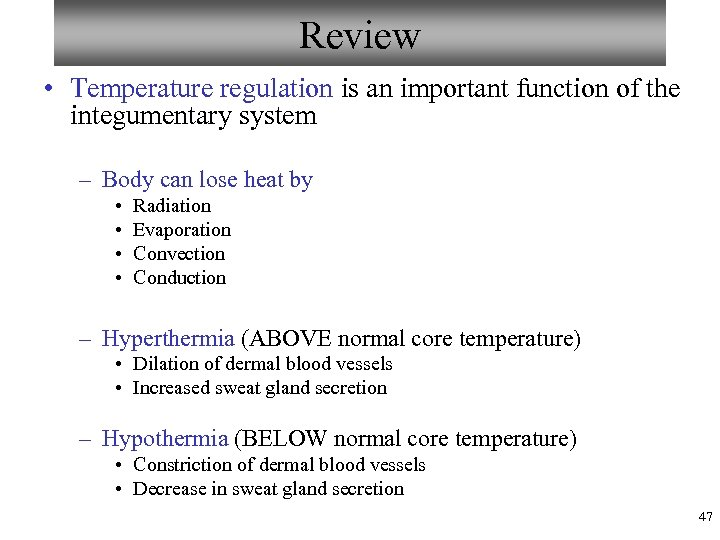 Review • Temperature regulation is an important function of the integumentary system – Body