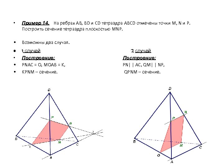 • Пример 14. На ребрах АВ, BD и CD тетраэдра ABCD отмечены точки