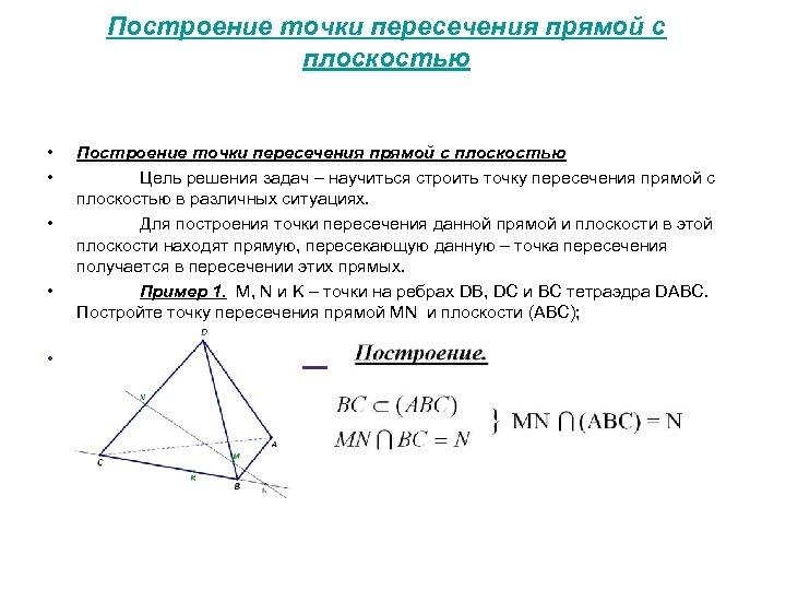 Построение точки пересечения прямой с плоскостью • • • Построение точки пересечения прямой с