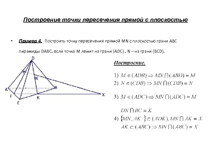 Построение точки пересечения прямой с плоскостью • Пример 4. Построить точку пересечения прямой MN