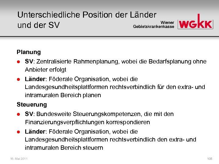 Unterschiedliche Position der Länder und der SV Planung l SV: Zentralisierte Rahmenplanung, wobei die